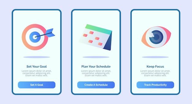 Imposta il tuo obiettivo pianifica la tua pianificazione mantieni l'attenzione per l'interfaccia utente della pagina banner del modello di app mobili con tre varianti di stile piatto moderno.