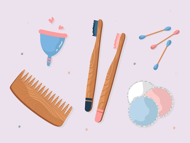 Set di zero rifiuti durevoli e riutilizzabili articoli per l'igiene illustrazione piatta. raccolta di vari elementi eco-compatibili per la cura isolata. spazzola per piatti in legno, pettine, spazzolino da denti, sapone e cotton fioc