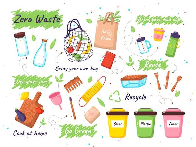 Set di zero elementi di scarto. zero rifiuti scarabocchi non adesivi in plastica, simboli di campagna di smistamento dei rifiuti