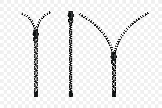 Set di cerniera. cerniera chiusa e aperta con zip. icona della cerniera. illustrazione.