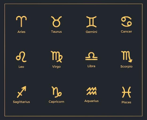 Set di modello di segni zodiacali