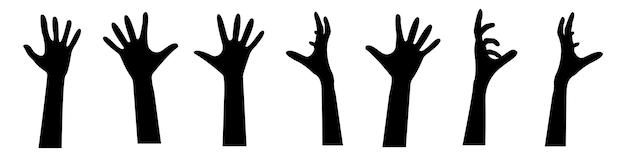 Una serie di mani zombie da terra. collezione di sagome di mani umane da tombe. set di oggetti in bianco e nero per la notte delle vacanze di halloween. illustrazione vettoriale.