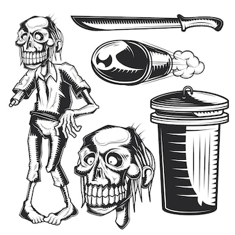 Set di elementi zombi per creare badge, loghi, etichette, poster, ecc.