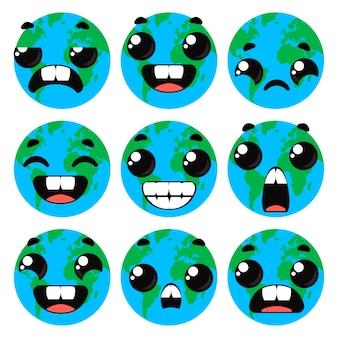 Seth pianeta terra con le emozioni. clipart divertente per bambini. illustrazione vettoriale in stile cartone animato.