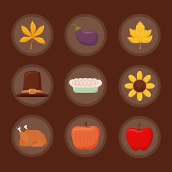 Seticonof set di icone del giorno del ringraziamento