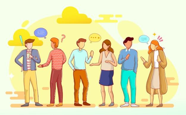 Insiemi di persone che parlano o parlano tra loro. raccolta di uomini e donne in chat con fumetti isolati su sfondo bianco. illustrazione vettoriale colorato in stile cartone animato piatto.