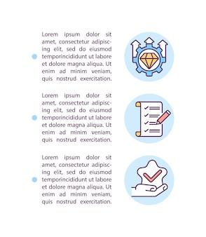 Impostazione delle icone delle linee del concetto di aspettative con il testo