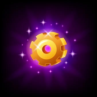 Icona dell'interfaccia del gioco dell'ingranaggio di impostazioni su fondo nero. elemento di applicazione mobile a cremagliera. illustrazione in stile cartone animato