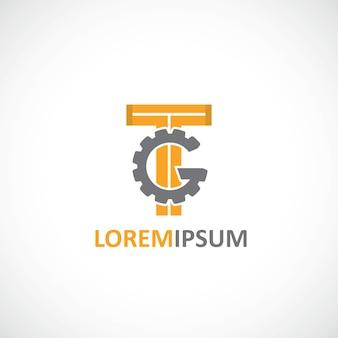 Modello di logo dell'icona delle impostazioni su sfondo bianco
