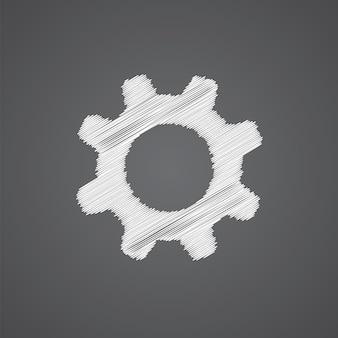 Impostazioni schizzo logo doodle icona isolato su sfondo scuro