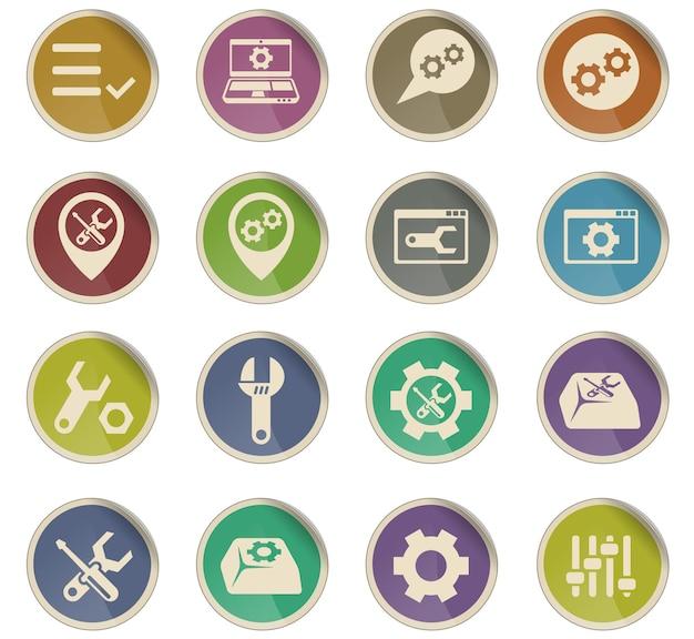 Icone vettoriali impostazioni sotto forma di etichette di carta rotonde