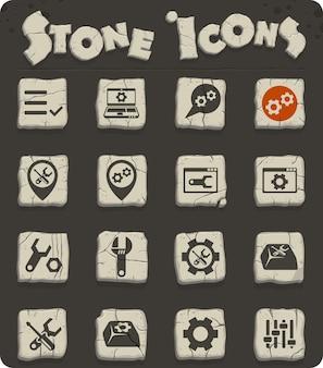 Impostazioni icone vettoriali su blocchi di pietra nello stile dell'età della pietra per il web e la progettazione dell'interfaccia utente