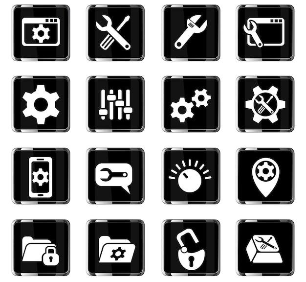 Impostazioni web icone per la progettazione dell'interfaccia utente