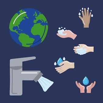 Sette icone della giornata mondiale del lavaggio delle mani