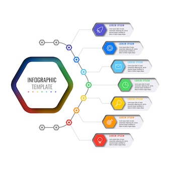 Sette elementi esagonali multicolori con icone di linea sottile nel modello di infografica aziendale