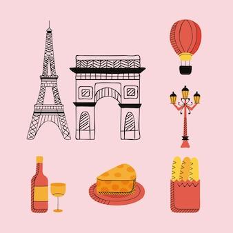 Sette icone del paese di parigi