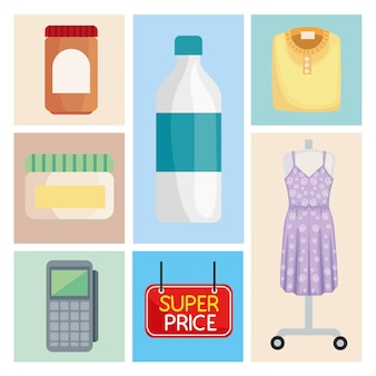 Sette icone del mercato dello shopping