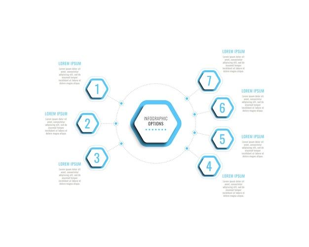 Modello di infografica a sette passaggi con elementi esagonali azzurri con ombra su sfondo bianco