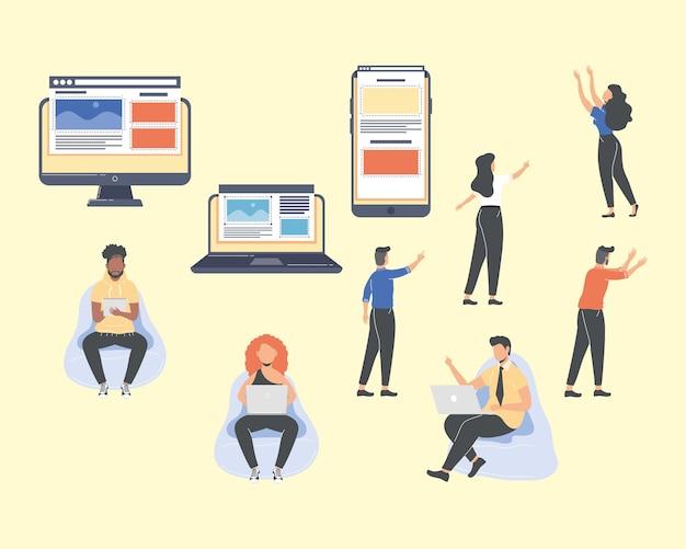 Sette personaggi lavoratori web designer