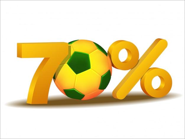 Icona di sconto del settanta per cento con pallone da calcio brasile