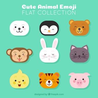 Diversi emoji animali in design piatto