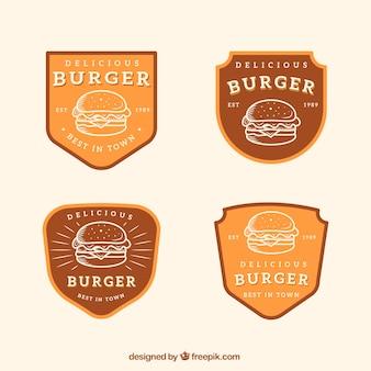 Diversi loghi di hamburger in stile retrò