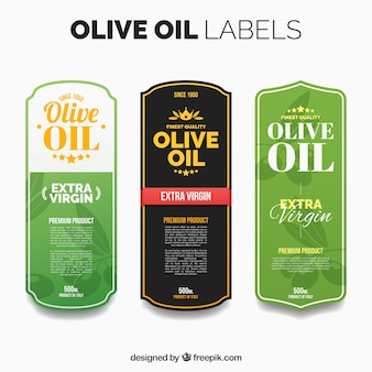 Diverse etichette di olio di oliva con dettagli di colore