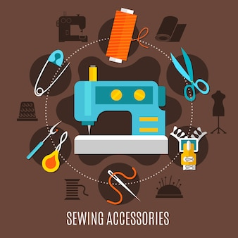 Concetto di accessori per cucire