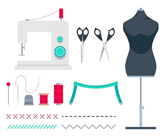 Accessori per cucire e strumenti del fumetto insieme isolato su uno sfondo bianco.
