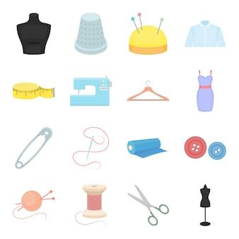 Insieme dell'icona di vettore del fumetto dell'atelier di cucito. atelier di cucito di industria dell'illustrazione di vettore.