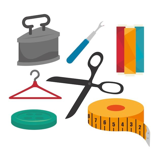 Disegno dell'icona isolato kit cucito Vettore Premium