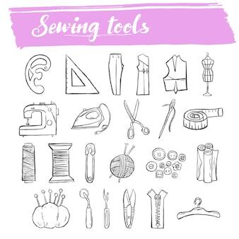 Insieme dell'icona di doodle di strumenti per cucire e maglieria