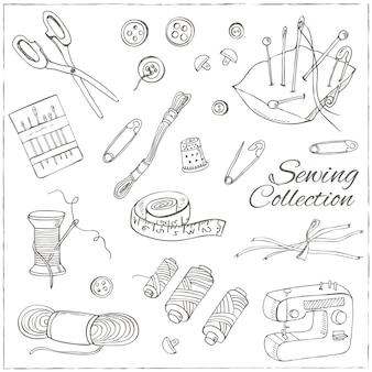 Illustrazione degli strumenti di cucito e maglieria