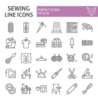 Insieme dell'icona di linea di cucito, collezione su misura