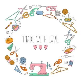 Linea di cucito strumenti tondo sfondo, realizzato con amore.