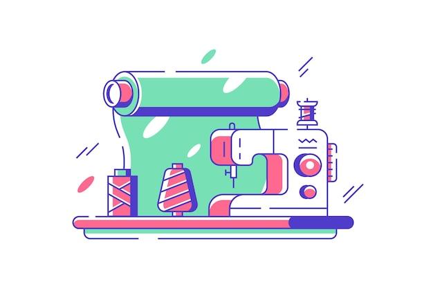 Macchina da cucire per l'illustrazione di tessuti. apparecchiature elettriche per la creazione di vestiti in stile piatto. industria della moda e concetto artigianale. isolato