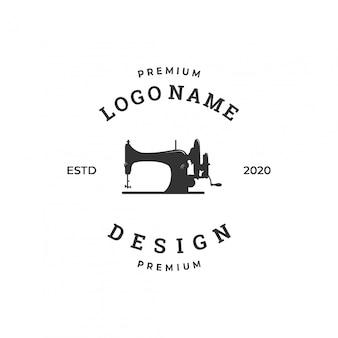 Concetto di logo macchina da cucire, modello di progettazione industria tessile