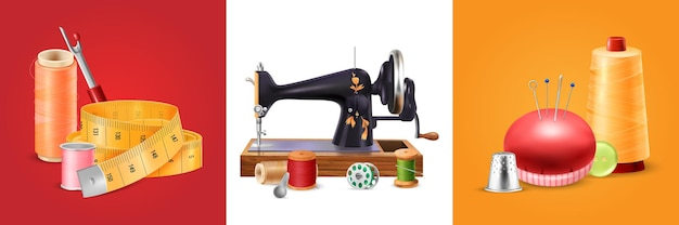 Insieme del quadrato della macchina da cucire con l'illustrazione realistica degli isolati delle forbici e degli aghi