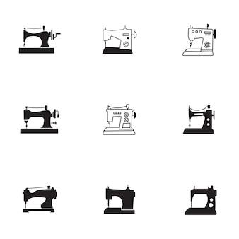 Insieme di vettore della macchina da cucire. la semplice illustrazione della forma della macchina da cucire, elementi modificabili, può essere utilizzata nella progettazione del logo