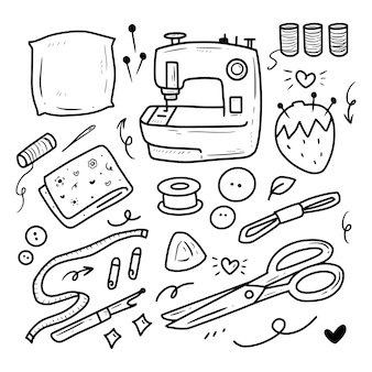 Set di icone di strumenti di cucito raccolta adesivo