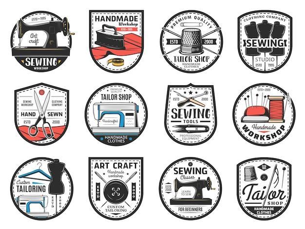 Strumenti di cucito, icona della sartoria, simboli vettoriali per atelier di cucito di abbigliamento personalizzato. macchina da cucire vintage e moderna, ferro da stiro, forme per abiti e forbici, spillo, ago e ditale, bottone, tessuto