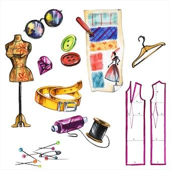 Set di illustrazioni ad acquerello disegnati a mano accessori per officina di cucito. attributi di sartoria, pacchetto strumenti da sarta collezione di quadri di acquarello di strumenti da cucito