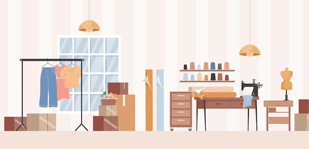 Laboratorio di cucito, studio di sarta o illustrazione di interior design di atelier di vestiti
