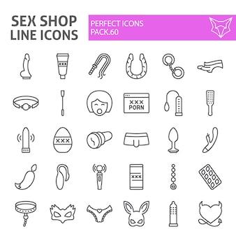 Insieme dell'icona di linea del negozio di sesso, collezione di giocattoli del sesso