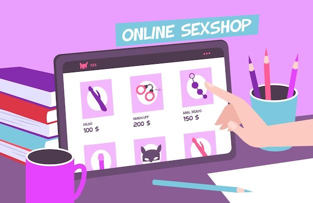 Composizione online di sexy shop con vista dell'area di lavoro del desktop con tablet touchscreen e articoli in vendita