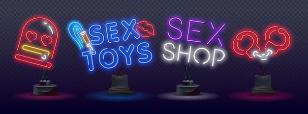 Icone al neon di giocattoli del sesso