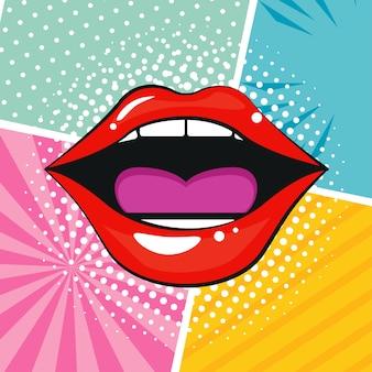 Sexi bocca femminile in stile pop art.
