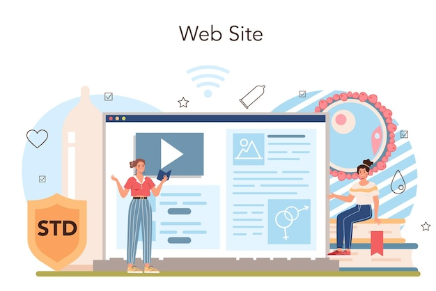 Servizio o piattaforma online di educazione sessuale. lezione di salute sessuale