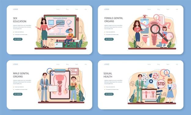Banner web di educazione sessuale o pagina di destinazione imposta lezione sulla salute sessuale