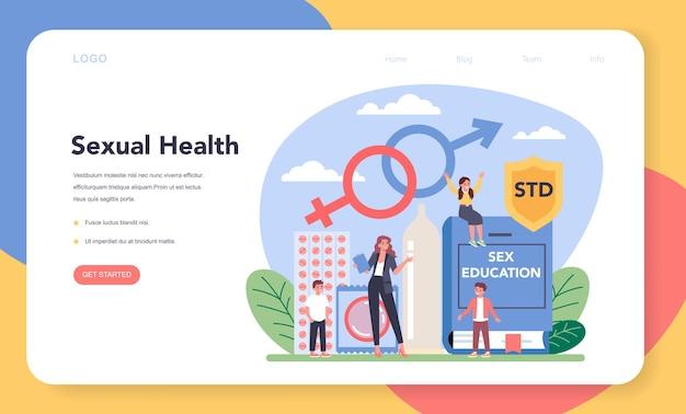 Banner web o pagina di destinazione per l'educazione sessuale. lezione di salute sessuale per i giovani.